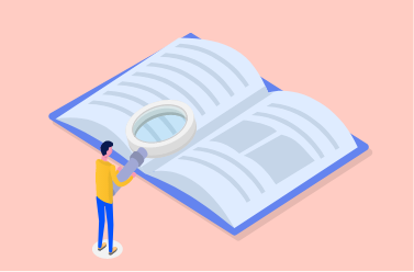 Illustration d'un catalogue d'entreprise et d'un homme avec une loupe